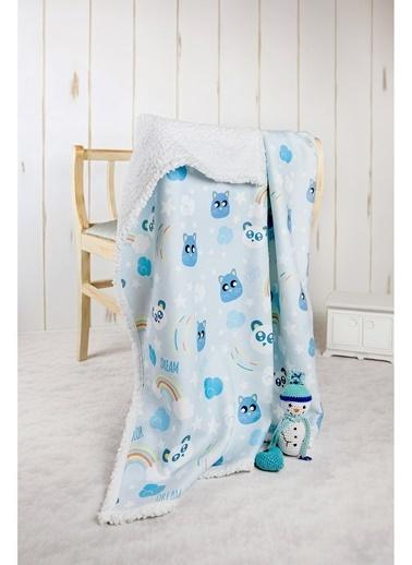Hamur Fluffy Bebek Battaniyesi 80x100 cm Dream Koyun Tüyü Battaniye Mavi